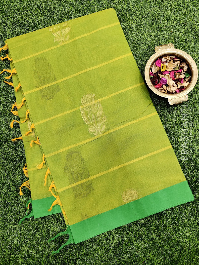 Handloom Cotton Saree dual shade of light green and green with thread woven buttas and zari border