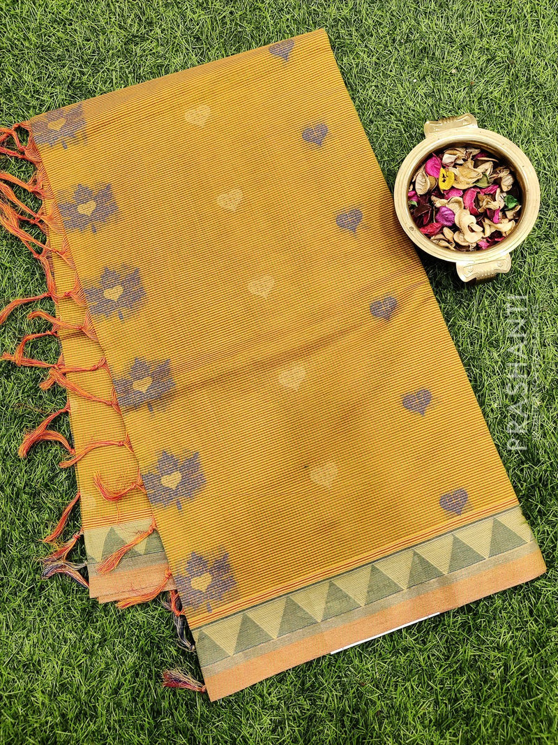 Handloom Cotton Saree pink and yellow with body checked thread woven buttas and zari border