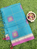 Handloom Cotton Saree peacock blue and pink with thread woven buttas and zari border