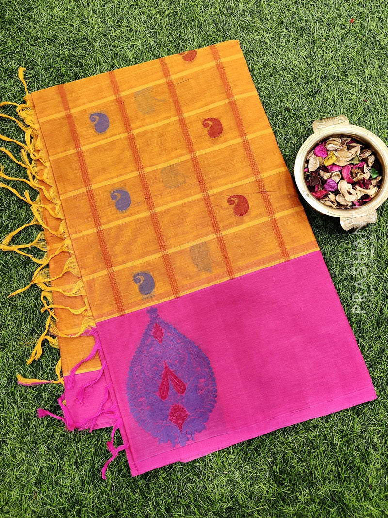 Handloom Cotton Saree mustard and pink with checks body thread woven buttas and border