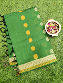 Handloom Cotton Saree green and black with thread woven buttas and border