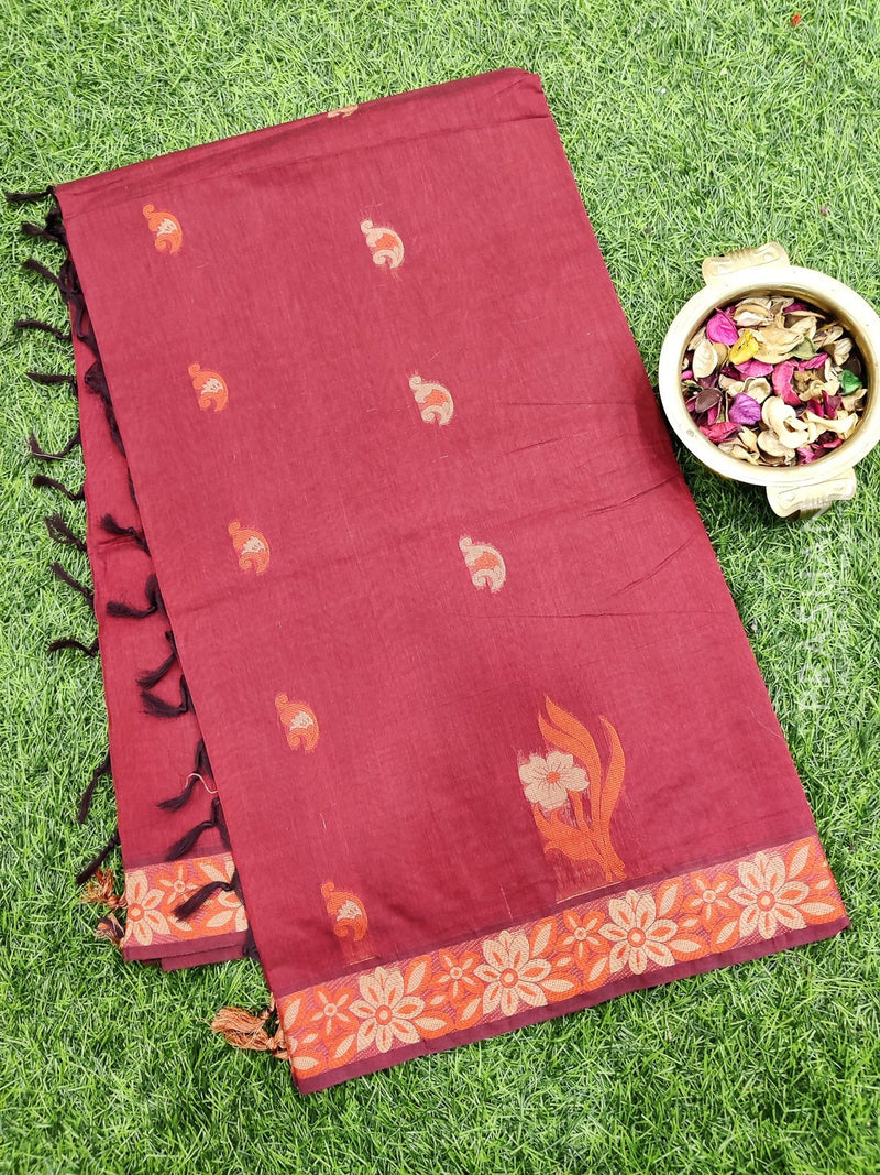 Handloom Cotton Saree dual shade of meroon and orange with thread woven buttas and buttas border