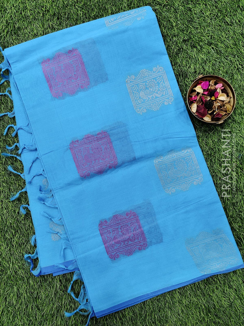 Handloom Cotton Saree sky blue and blue with thread woven buttas and piping border