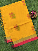 Handloom Cotton Saree yellow and pink with thread woven buttas and zari border