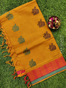 Handloom Cotton Saree mustard and pink with thread woven buttas and simple border