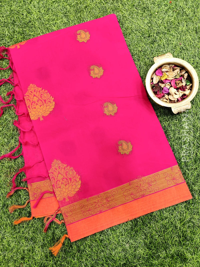 Handloom Cotton Saree pink and rust with thread woven buttas and thread woven border