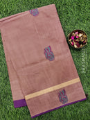 Handloom Cotton Saree pestal and purple with thread woven buttas and zari border