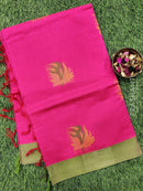 Handloom Cotton Saree reddish pink and green with thread woven buttas and simple border
