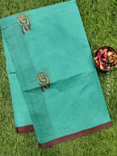 Handloom Cotton Saree teal green and maroon with thread woven buttas and simple border