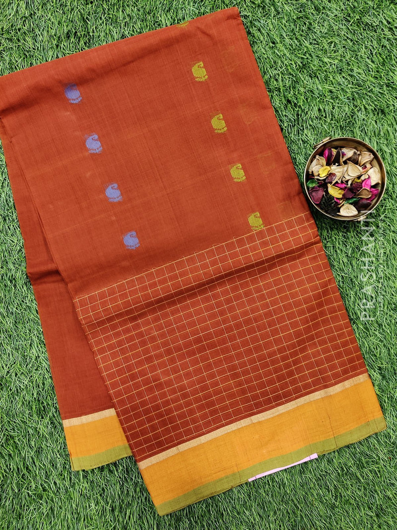 Handloom Cotton Saree brown and mustard with body buttas and zari border