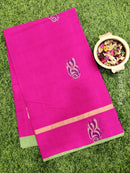 Handloom Cotton Saree dark pink and parrot green with body buttas and zari border