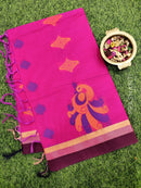 Handloom Cotton Saree pink and blue with thread woven buttas and zari border
