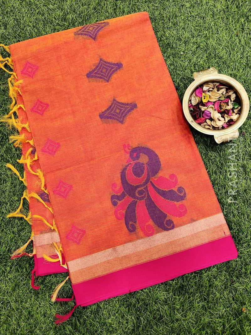 Handloom Cotton Saree dual shade of yellow and pink with thread woven buttas and zari border