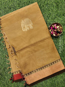 Handloom Cotton Saree beige with thread woven buttas and zari border