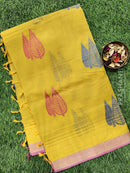 Handloom Cotton Saree mustard and pink with thread woven buttas and zari border