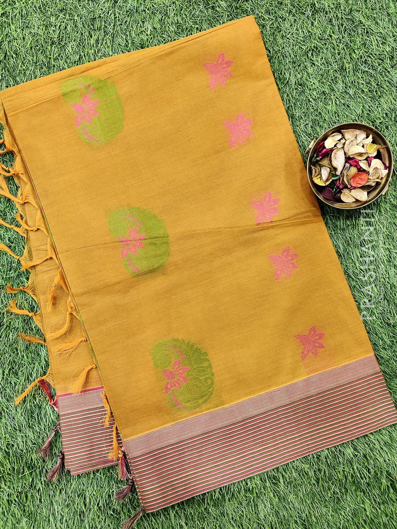 Handloom Cotton Saree mustard with thread woven buttas and zari border