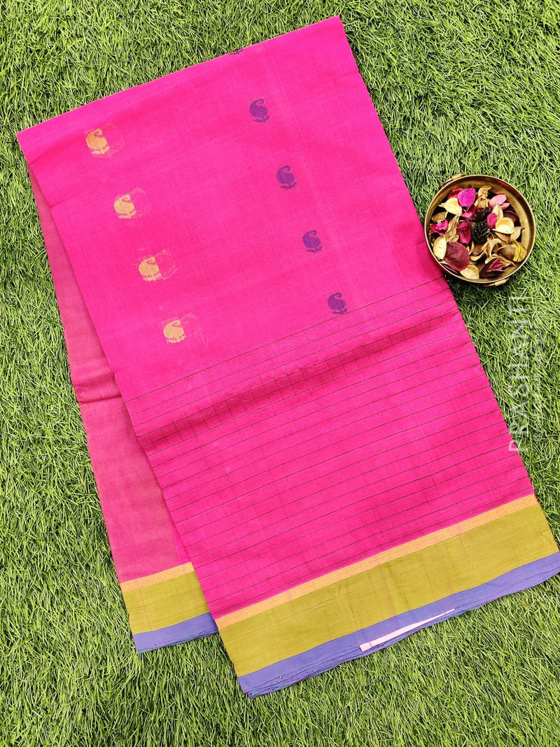 Handloom Cotton Saree pink and green with body buttas and simple border