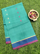 Handloom Cotton Saree green and blue with body buttas and simple border