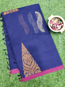 Handloom Cotton Saree navy blue with boby buttas and piping border