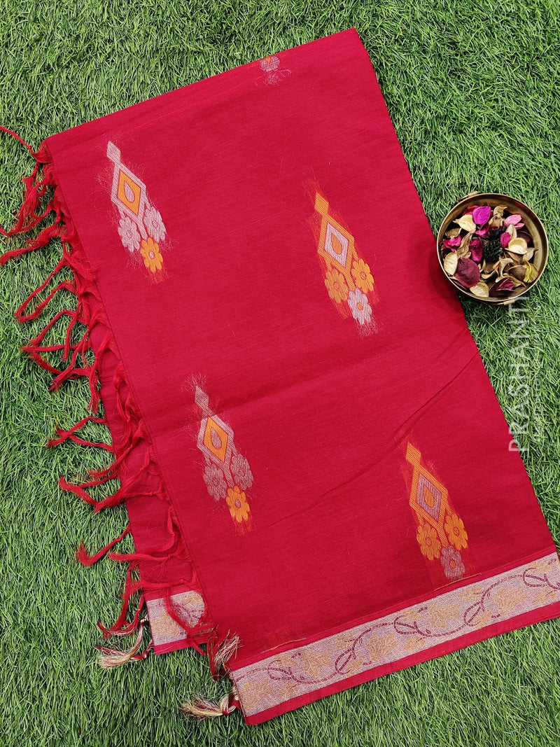 Handloom Cotton Saree chilly red with body buttas and zari border