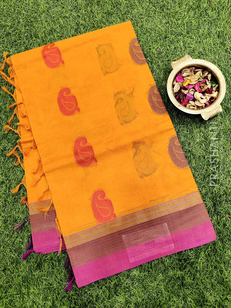 Handloom Cotton Saree mustard yellow and magenta pink with body buttas and simple border