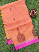 Handloom Cotton Saree dual shade of yellow and pink with body buttas and simple border