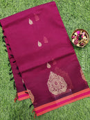 Handloom Cotton Saree deep purple with body buttas and simple border
