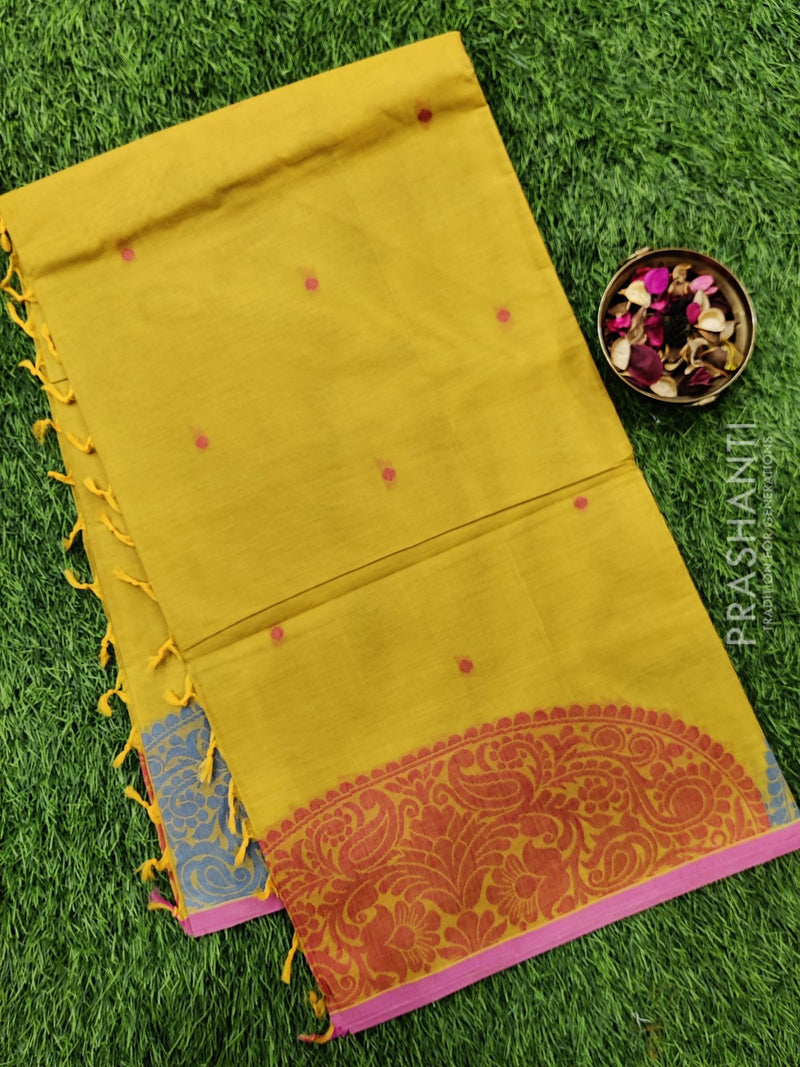 Handloom Cotton Saree mustard and pink with body buttas and thread border