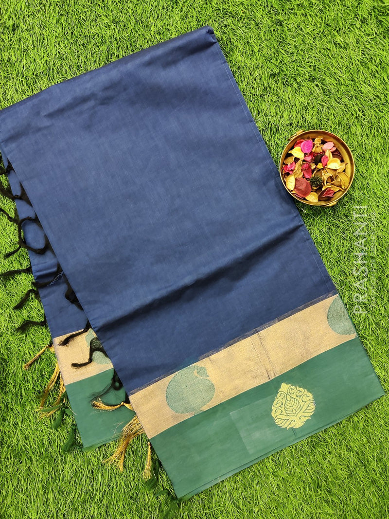 Handloom Cotton Saree blue and green with plain body and zari border