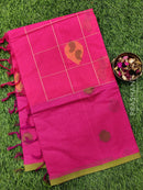 Handloom Cotton Saree pink and green with body buttas and piping border