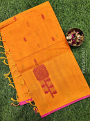 Handloom Cotton Saree yellow and pink with body buttas and piping border