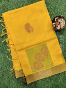 Handloom Cotton Saree yellow with thread woven buttas and simple border