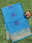 Handloom Cotton Saree cs blue with thread woven buttas and simple border