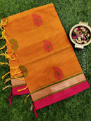 Handloom Cotton Saree mustard yellow with thread woven buttas and simple border