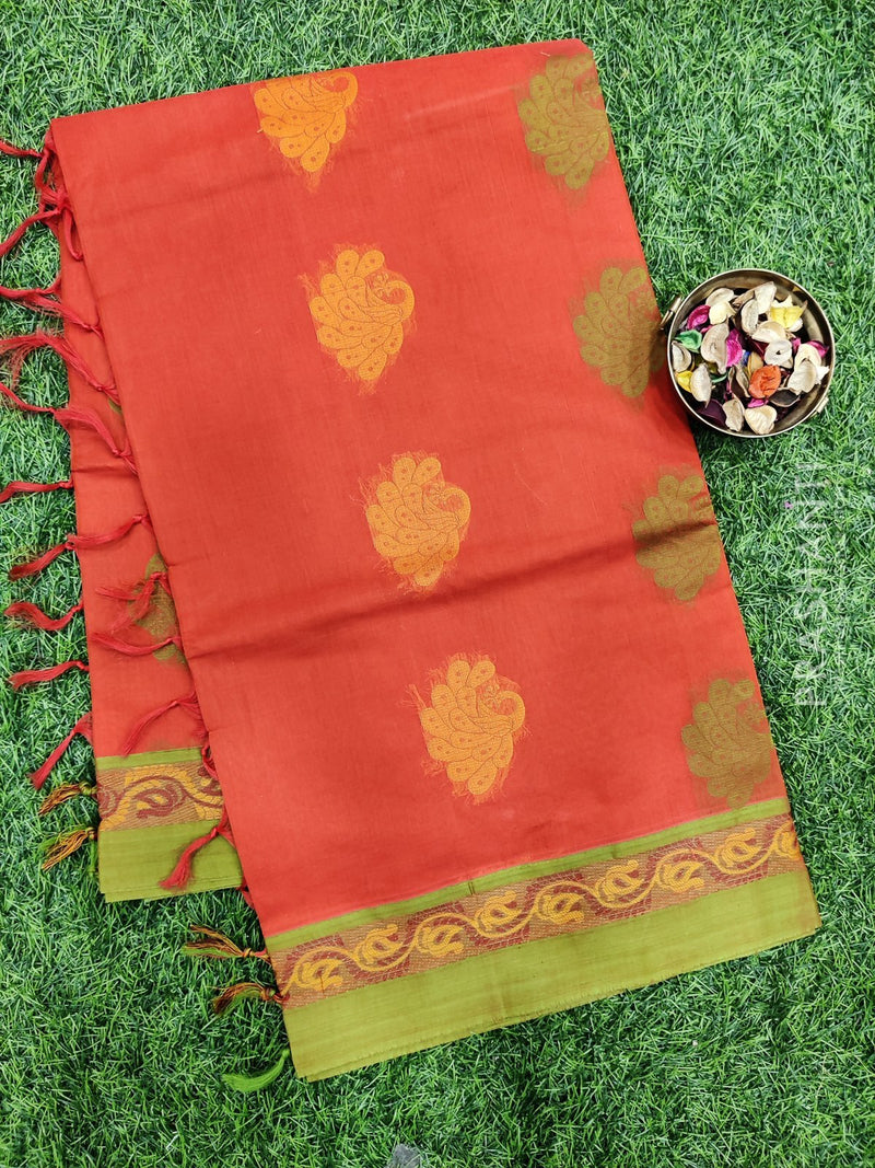 Handloom Cotton Saree red and green with thread woven buttas and simple border
