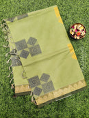 Handloom Cotton Saree green with thread woven buttas and simple border