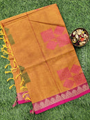 Handloom Cotton Saree rust and pink with thread woven buttas and simple border