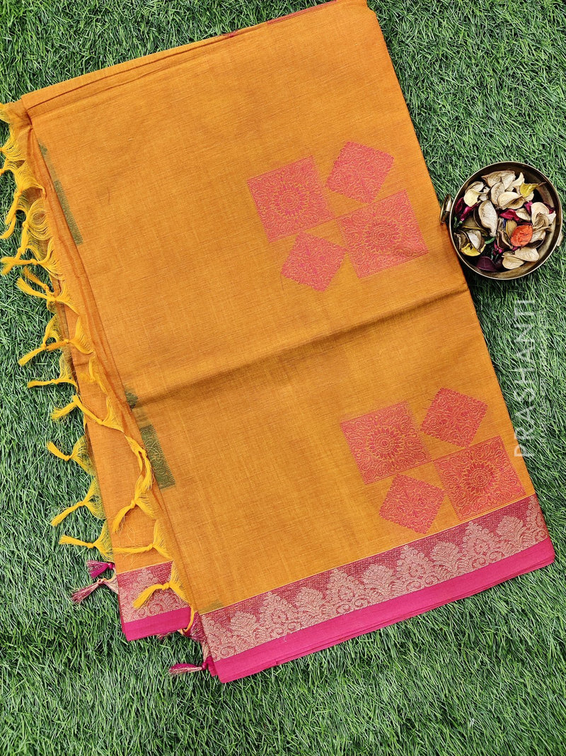 Handloom Cotton Saree sunset orange and pink with thread woven buttas and simple border