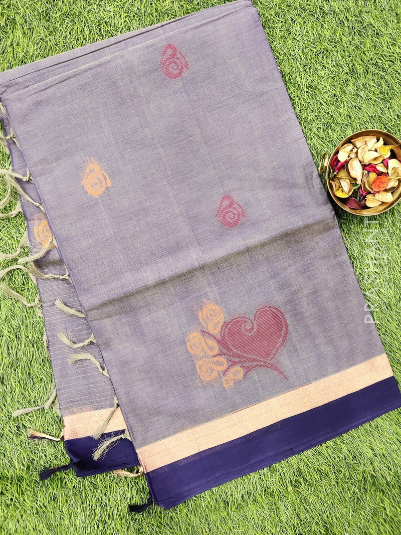 Handloom Cotton Saree blue shade with thread woven buttas and simple border