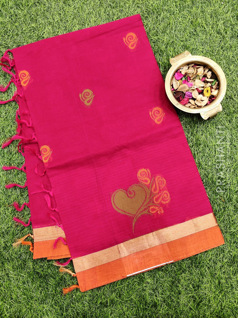 Handloom Cotton Saree tomato pink and rust with thread woven buttas and simple border