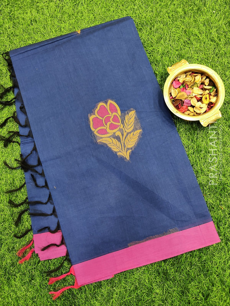 Handloom Cotton Saree navy blue and pink with thread woven buttas and simple border