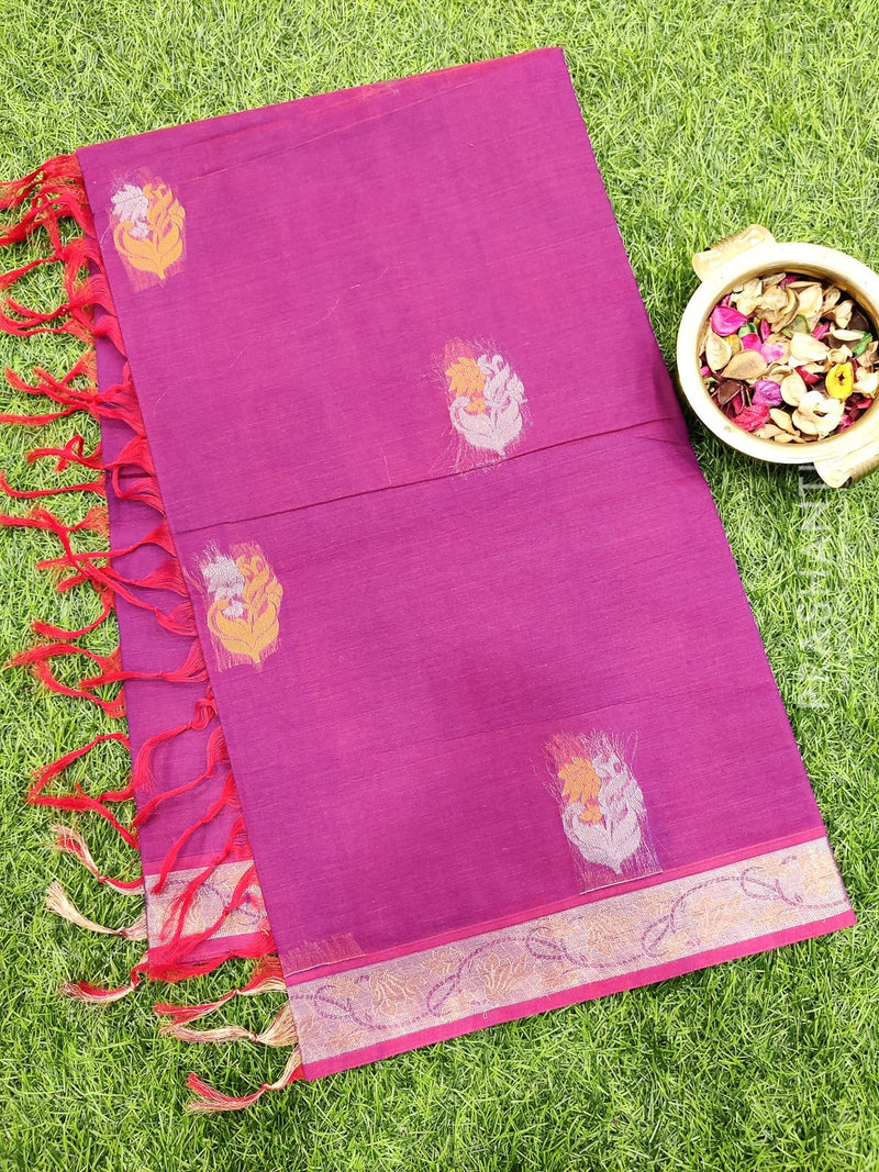 Handloom Cotton Saree dual shade of magenta pink with thread woven buttas and simple border
