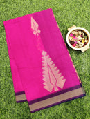 Handloom Cotton Saree pink and purple with thread woven buttas and simple border