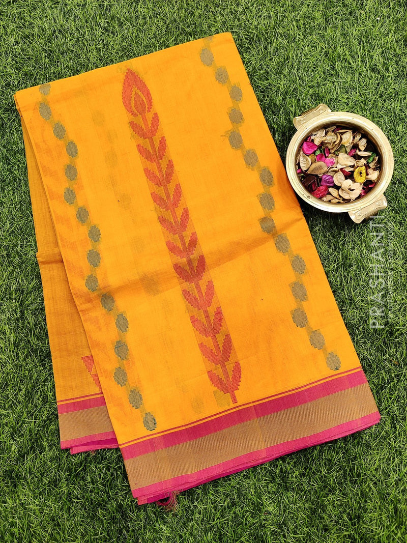 Handloom Cotton Saree mango yellow and pink with thread woven buttas and simple border