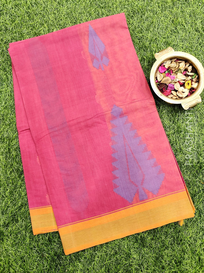 Handloom Cotton Saree pink and mustard with thread woven buttas and simple border