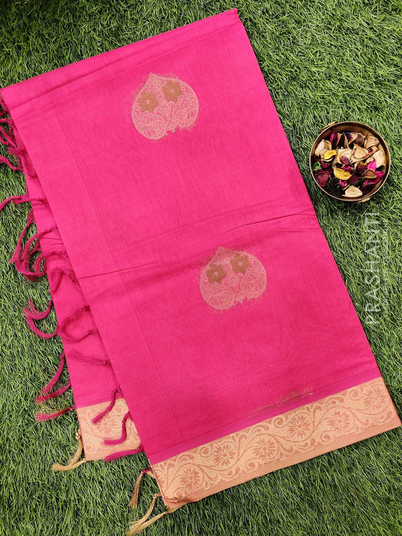 Handloom Cotton Saree pink with thread woven buttas and simple border