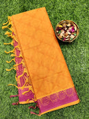 Coimbatore Cotton Saree mild orange and magenta with allover thread emboss and woven border