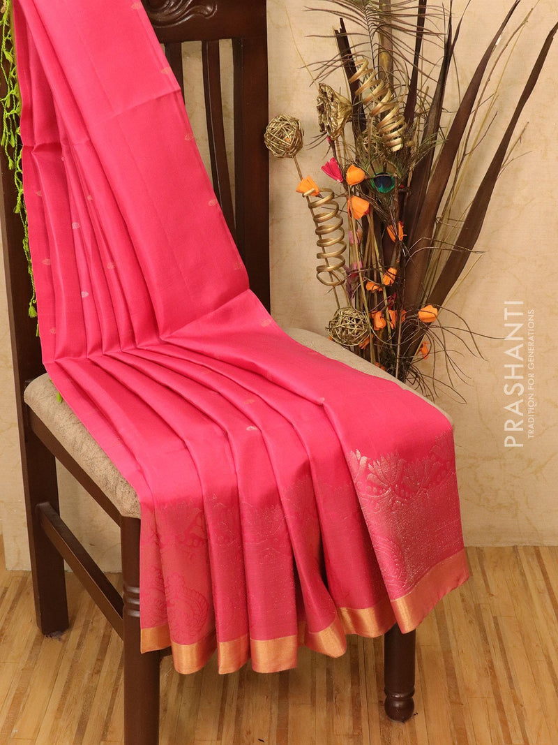 Soft silk saree pink and light green with zari woven buttas and simple zari border