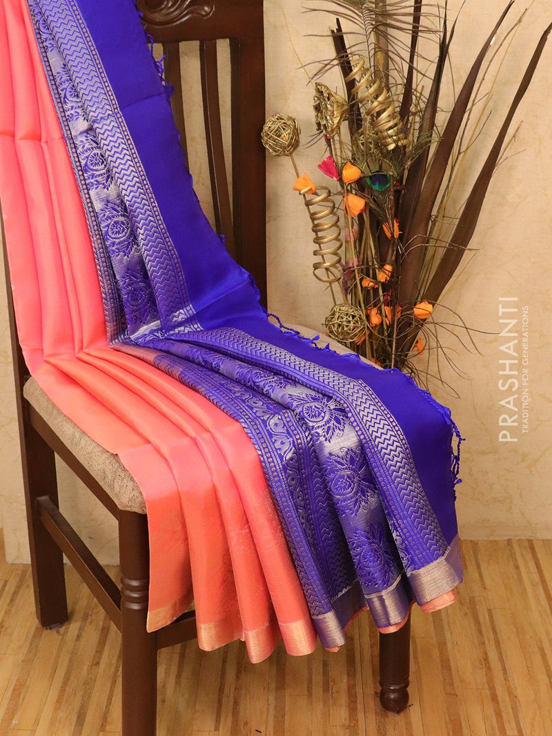 Soft silk saree peach pink and blue with zari woven buttas and simple zari border