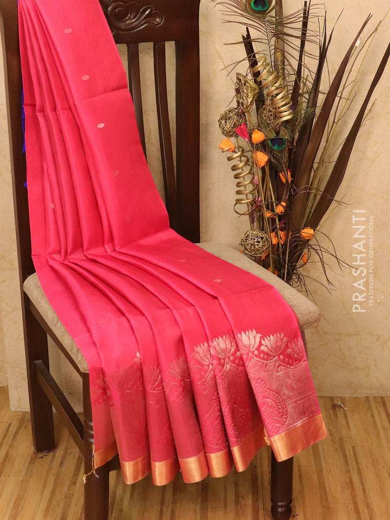 Soft silk saree pink and blue with zari woven buttas and simple zari border